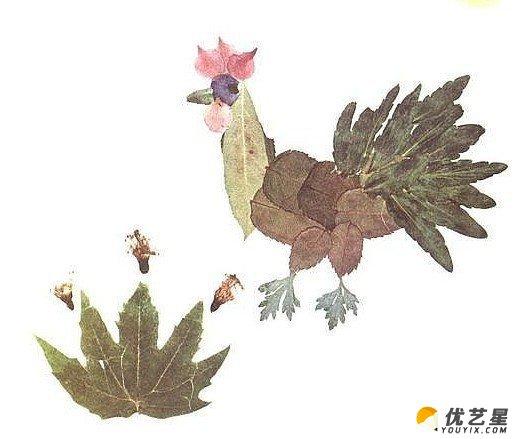 20款精美树叶粘贴画作品素材 树叶粘贴可爱小动物手工