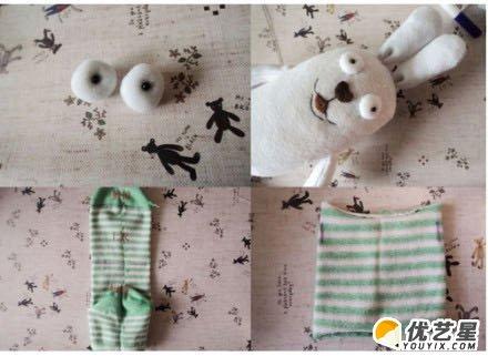 旧袜子制作越狱兔布偶手工制作教程图解 越狱兔玩偶 可爱小兔子袜子