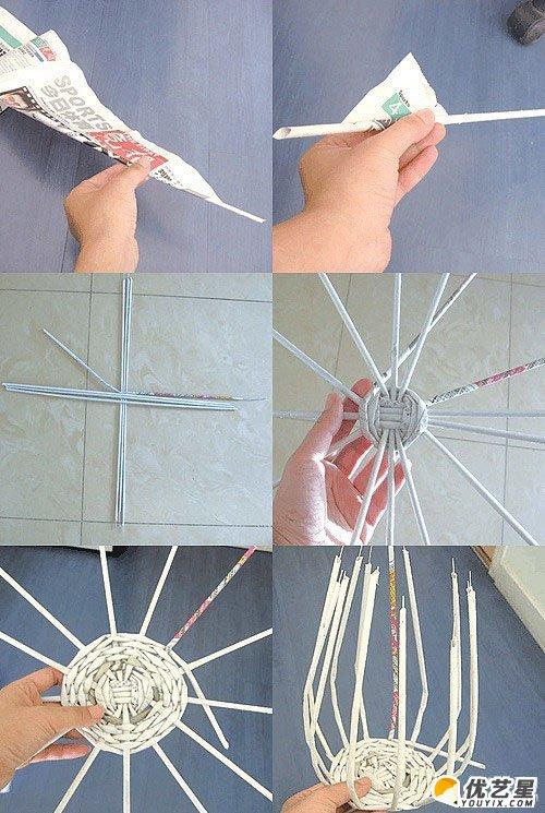 纸篓_旧报纸能做什么手工?用报纸纸张编织制作纸篓的手工教程和 ...