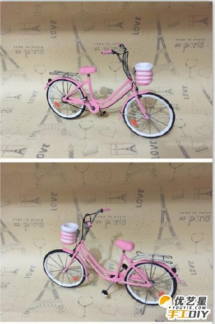 用细铁丝跟粘土结合的手工制作自行车