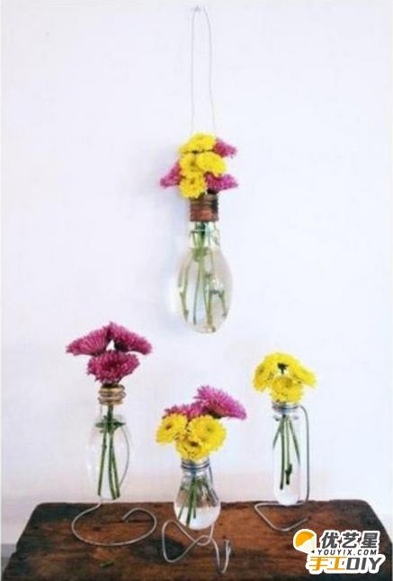利用废旧的灯泡或试管玻璃器皿制作出精致漂亮的花瓶 手工制作小花瓶