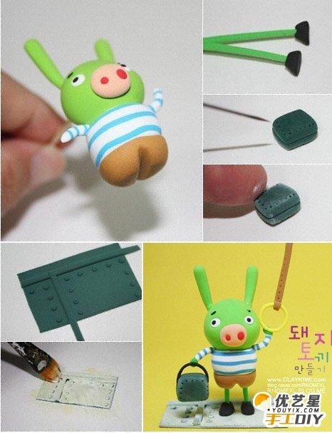 可爱的赶公交小猪粘土制作教程图解 纯萌聪明的小猪猪