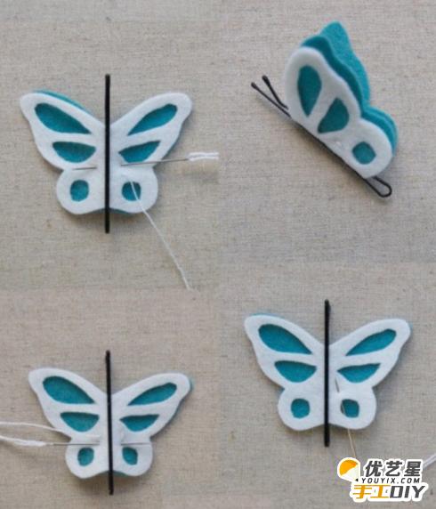 蝴蝶不织布手工制作发卡 利用不织布制作出漂亮精致的