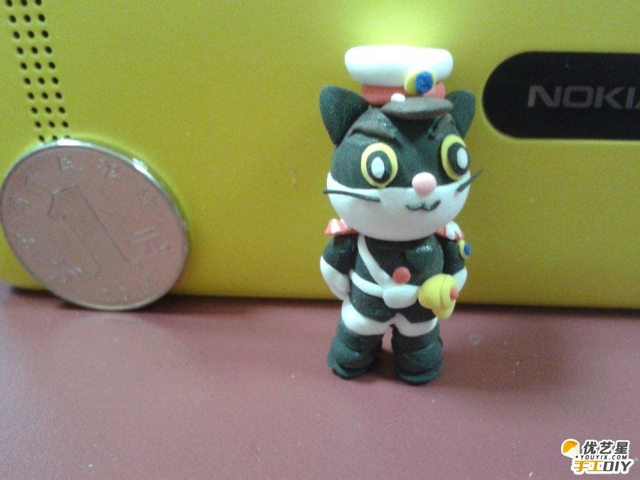 黑猫警长软陶粘土手工制作作品 可爱而可敬的动物英雄 森林的守护神