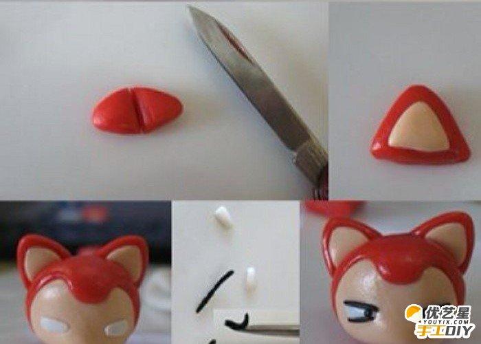 超可爱逼真的小狐狸阿狸手工软陶粘土 可爱的阿狸粘土