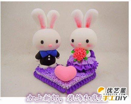 甜美浪漫的小兔子软陶粘土婚饰 浪漫幸福的小兔子婚饰