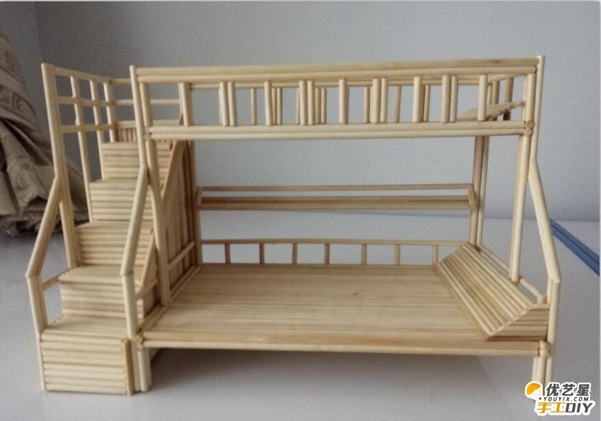 用竹签手工创意精美制作的小房子 精致漂亮的上下架小