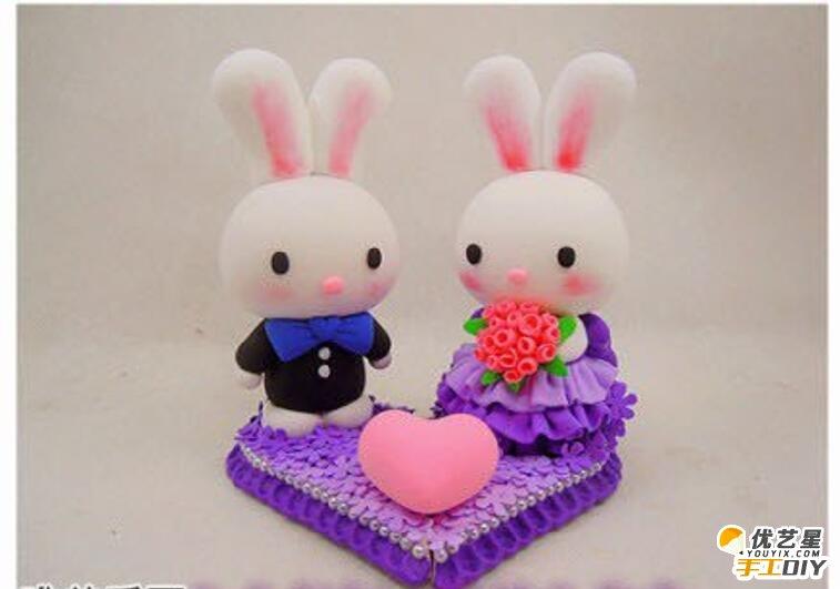 可爱唯美的小兔子新娘造型的手工粘土制作教程 手工粘土制作教程