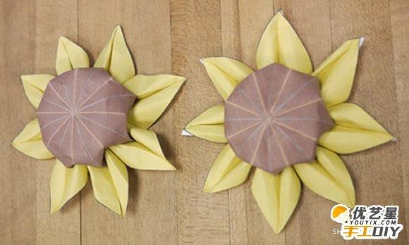 手工diy折纸制作教程 单调简单的太阳花的手工折纸制作步骤教程(3)