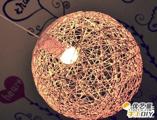 自制唯美时尚漂亮的毛线灯罩 毛线灯罩的手工diy制作教程 手工diy创意
