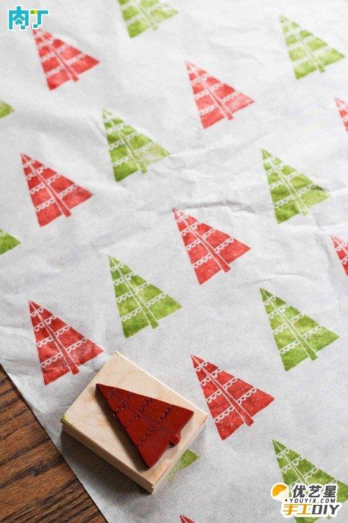 橡皮章手工制作节日包装纸 如何手工diy制作精美漂亮的包装纸 包装纸
