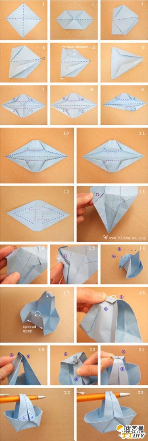 简单可爱的篮子的手工制作教程 如何用纸简单的折出漂亮的小篮子 折纸