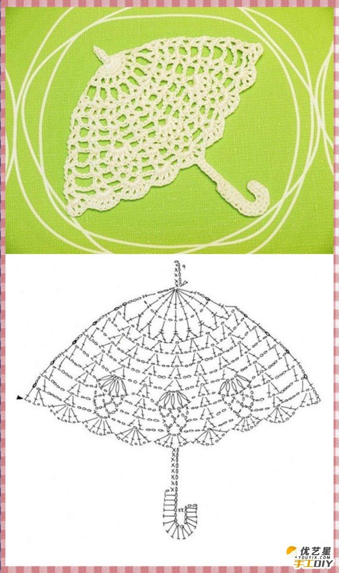 唯美的蕾丝钩针编织钩针法教程图解 关于南瓜马车,皇冠,伞,鸟,企鹅的