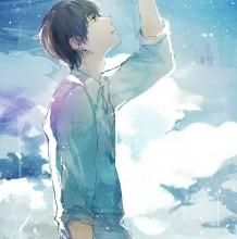 抬头仰望天空 明媚的男生插画 正能量慢慢的爱与温暖