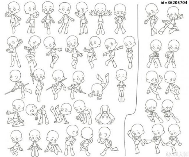 可爱q版卡通人物动作姿势分解图 简笔画人物结构图素材