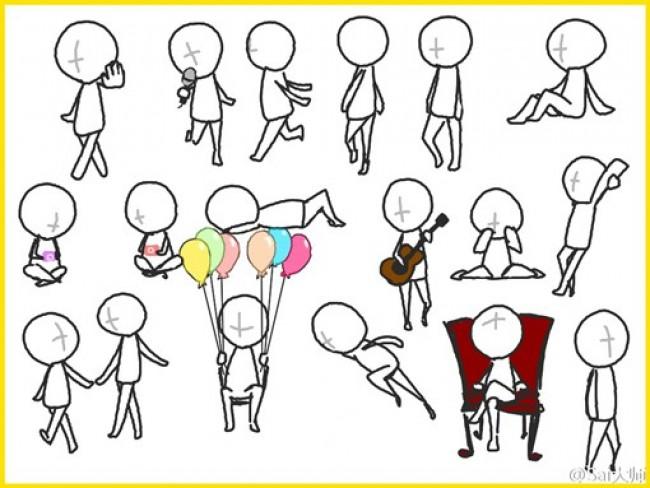 可爱q版卡通人物动作姿势分解图 简笔画人物结构图素材(3)