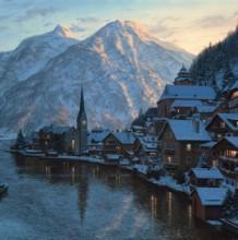 最美雪景插画 逼真欧洲小镇雪景插画 插画师Evgeny Lushpin
