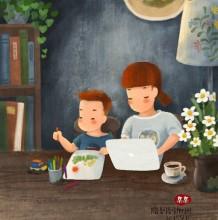 热爱家庭生活的幸福甜美的亲子小清新插画