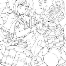 日本萝莉美少女各种姿势穿着插画线稿图 手稿可练手上色