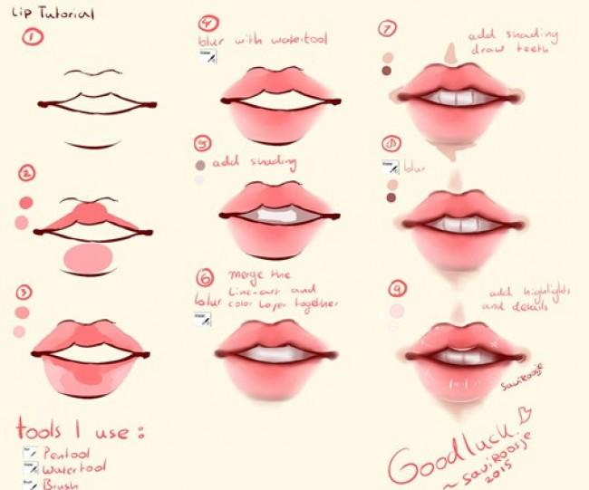 怎么给人物的嘴巴上色教程 怎么才能画好嘴巴图片