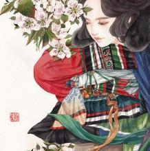 很有中国风的一组女性插画 古风古韵的美女子