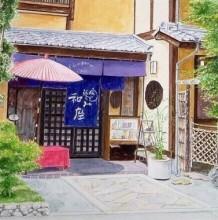 描绘日本小镇街头建筑风景的水彩画 日本插画师Hiroki
