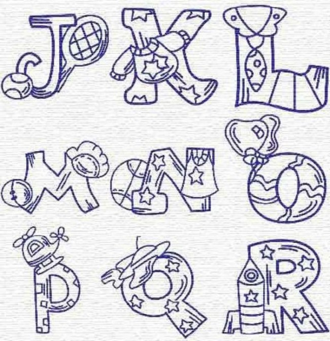 很有创意的一组卡通英文字母手绘素材图案