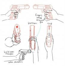 手枪的不同角度展示和画法 握枪的姿势演示和绘画教程