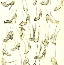 女性高跟鞋各个角度展示和脚的关系绘画素材教程