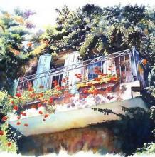 绿树环绕的小镇房屋一角水彩画 田园自然气息