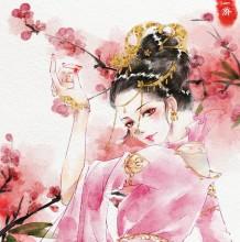 淡淡的水彩古装女子唯美插画图片 最爱古风东方韵味