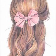 很好看的表现女生头发和发型的插画绘画作品 很细腻