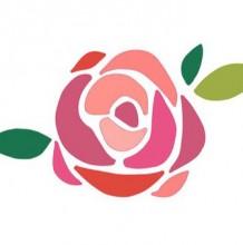 平面色块的玫瑰花绘画上色过程教程 装饰效果强