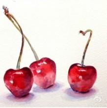 好看的小樱桃怎么画 樱桃水彩画法上色步骤和技巧