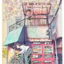 骑单车的少年日系水彩画图片