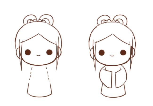 前几天我们分享了牛郎,今天我们来画织女。其实说是牛郎织女,但是大家完全可以当成是古代的人物的Q版卡通画的画法。很具有代表性。并且其实识别性和唯一性不是很强的,所以具有通用性。  重点就是头发的塑造了,包括发饰。是区分现代人和古代人的一个主要细节。  除了头发,当然更为重要的就是衣服了。长袍衣服。 来源:微博/网络  原作者:@ 图片水印