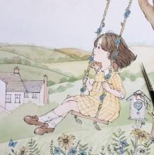 充满童趣的小女孩森系唯美插画图片