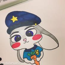 可爱的兔子警官朱迪怎么画 10步以内《疯狂动物城》中的兔子画法 兔子儿童画