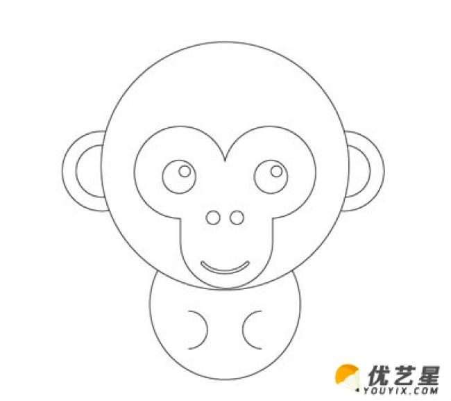 它的样子吧,看看你是不是也有这么大的本领! 首先我们先来画小猴子圆圆的脸和半圆形的耳朵,一定要仔细观察,脸要比身体大很多哦!  接下来我们就要画猴子的嘴,眼睛和鼻子,猴子的脸有一个特殊的形状,小朋友要抓住这个特征哦  接下来就是小猴的身体,小小的非常的可爱,只需要一个半圆形就好啦  再画出来小猴子弯弯卷卷的长尾巴,正好在它的身体的一边,这是猴子最大的特点 来源:微博/网络  原作者:@ 图片水印