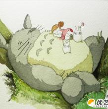 睡觉可爱萌萌的龙猫的彩铅水彩画  龙猫的卡通绘画步骤教程