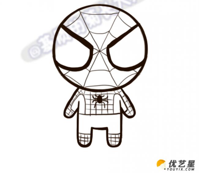 蜘蛛侠的卡通简笔画 蜘蛛侠的手绘画教程