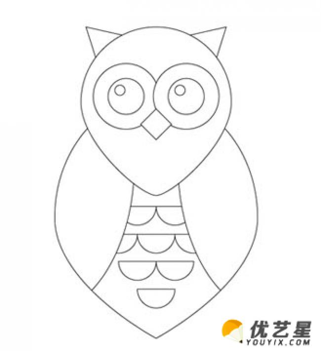猫头鹰简笔画教程 儿童卡通动物简笔画 就是如此的好学简单