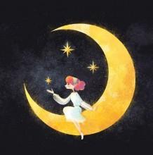 插画师Little oil的童话浪漫唯美设计 星星点点的梦幻夜空插画 少女的梦境