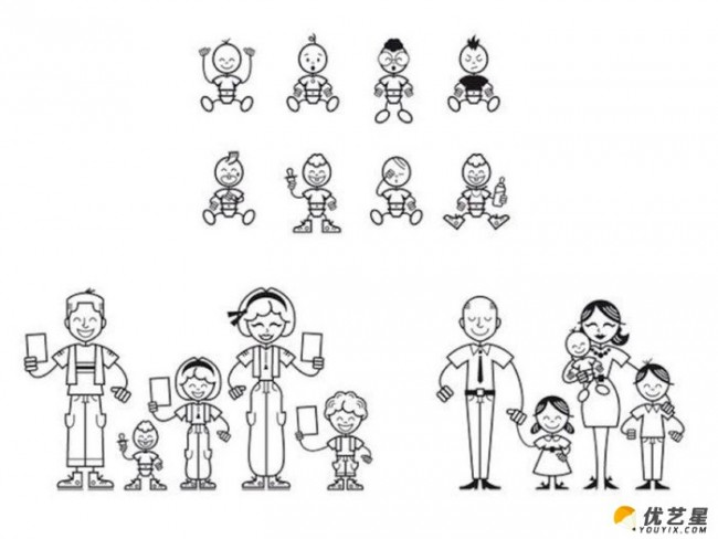 超简单可爱简笔小人人物线稿素材 黑白单线条简单好画