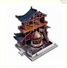 中国古建筑解剖分解内部结构展示图 精美彩铅水彩古建筑立体结构图素材图片