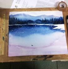 简单的水彩风景山水画怎么画 写意泼墨山水意境雪景水彩画绘画教程