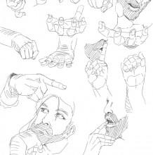 插画手部姿势的不同画法练习 单手与双手的手部结构线稿练习教程