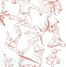 动漫角色攻击招式人体姿势怎么画教程 男性各角度姿态插画素材