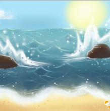 简单的PS海岸风景插画教学教程 天空与海岸交接的不同分成教程