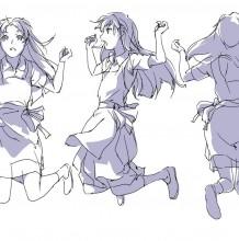 小清晰美女跳跃动作画画教程 女孩不同角度跳跃 正反侧三面绘画素材
